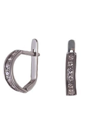 Серебряные серьги «классика» мелкими камнями и английским замком