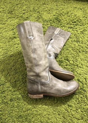 Кожаные сапоги серые чоботи шкіра на низькому з замком 39