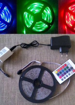 Комплект ПОКРАЩЕНОЇ світодіодної ленти RGB 3528 5м кольорова пуль