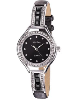 Черно - серебристые часы с кристаллами swarovski от norrsken