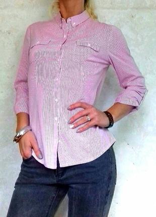 Хлопковая женская рубашка в мелкую полоску