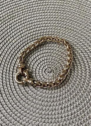 Шикарный женский браслет золотого цвета с красивым плетением
