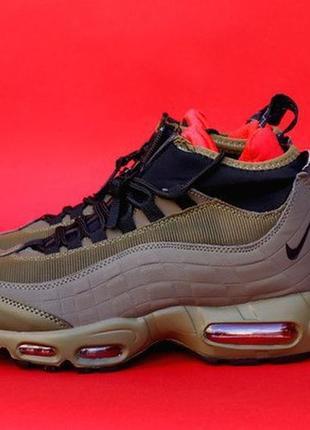 Nike air max sneakerboot 95 olive, зимние мужские кроссовки найк