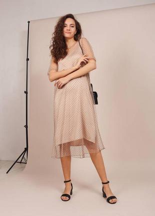 Подвійна сукня / сукня сітка / горошек / платье сетка