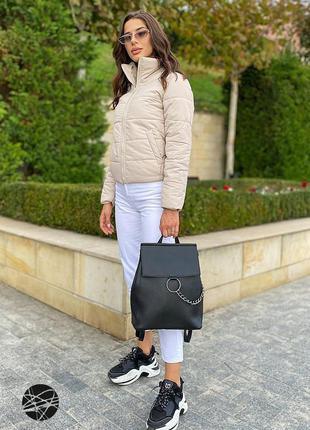 Черный вместительный городской рюкзак с кольцом и...