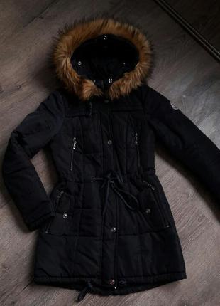 Куртка-парка зимняя, демисезонная темно-синяя от moncler