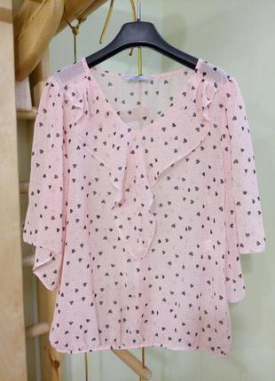 Красивая шифоновая блуза в сердечки