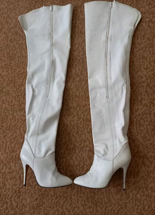 Белые высокие кожаные сапоги Италия / Високі білі шкіряні чоботи