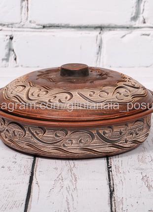 Сковорода глиняная форма для запекания посуда из глины блинница