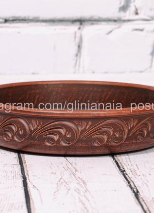Блинница глиняная форма для запекания из глины тарелка 25 см