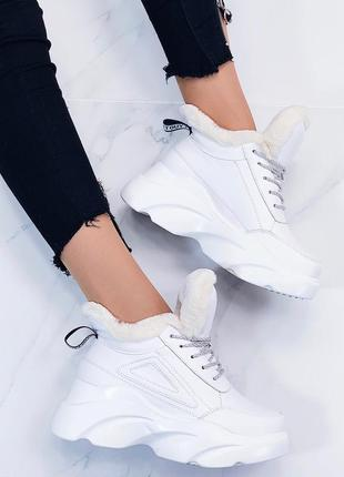 Зимние белые ботинки на высокой платформе,тёплые ботинки на вы...