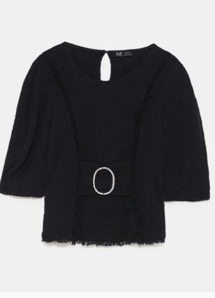 Кофта твид блуза с пряжкой поясом свитер кофточка