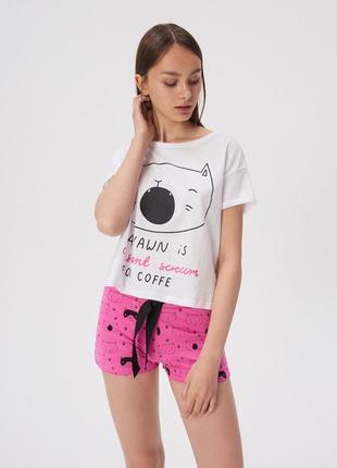 Новая пижама белая футболка розовые шорты польша принт кот юмо...