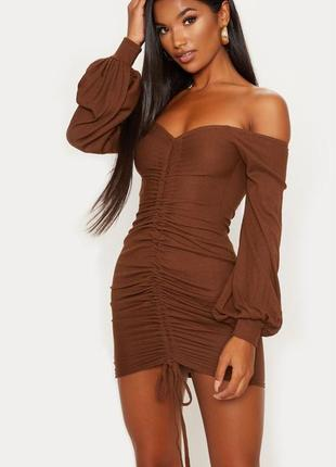 👑♥️final sale 2019 ♥️👑  шоколадное платье в рубчик с открытыми...