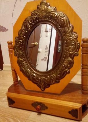 Старинное зеркало со шкатулкой ручная работа антикварное зеркало