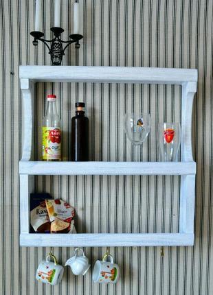 """Дерев'яна відкрита поличка для кухні в стилі """"Прованс"""" або """"Кантр"""