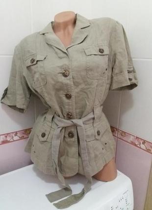Льняная рубашка большой размер