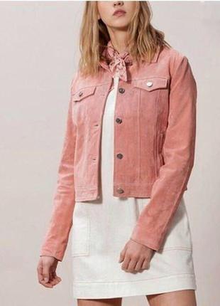 Розовая замшевая куртка h&m косуха