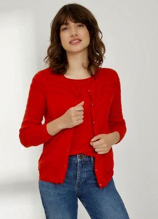 Красная кофточка , кардиган , кашемир 100%