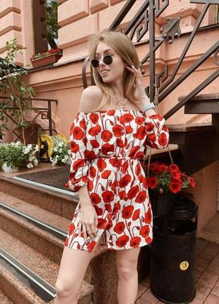 Стильное платье в яркий принт маки приталенное в стиле zara