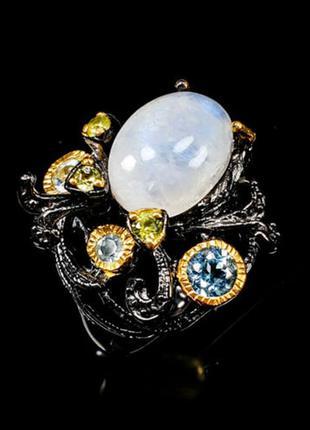 Серебряное кольцо лунный камень размер 17