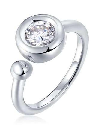 Серебряное кольцо с муассанитом размер 17 сертификат
