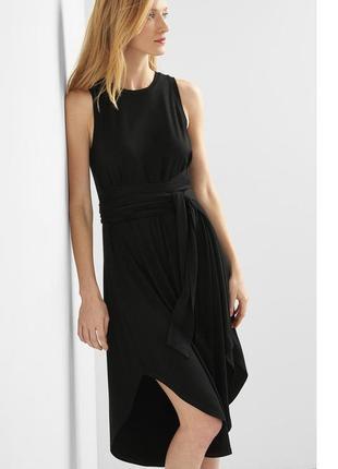 Черное платье с поясом вискоза