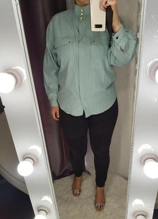 Шелковая блуза рубашка мятного цвета feldpausch