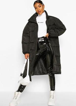 Oversize panelled longline puffer, boohoo пуховик куртка зимняя