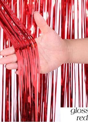 Шторка из фольги для фотозоны красная - 2*1м