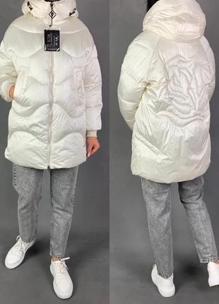 Объёмная зимняя куртка оверсайз пуховик пуффер белый био  пух