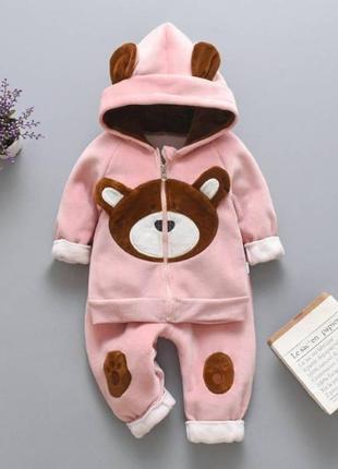 Теплый костюм мишка розовый