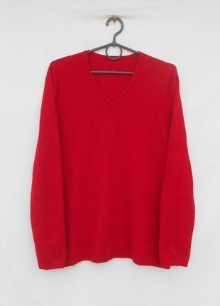 Красный мягкий кашемировый свитер джемпер с длинным рукавом