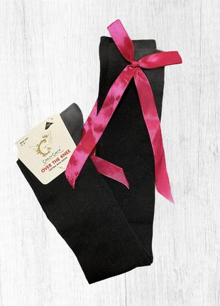 Чёрные гольфы гетры чулки  с розовыми бантами