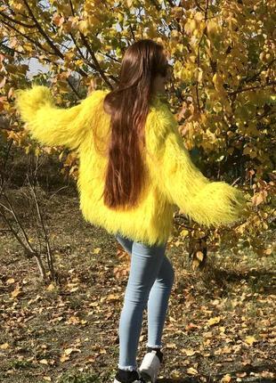 Шуба из ламы желтый цвет , нама эко мех как натуральный мех ламы