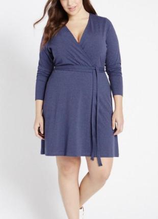 Платье на запах длинный рукав меланжевое синее