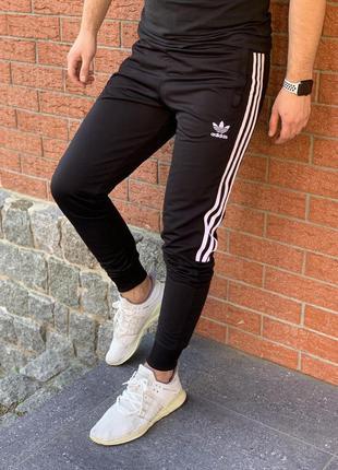 Спортивные штаны мужские adidas с лампасом черные | спортивні ...