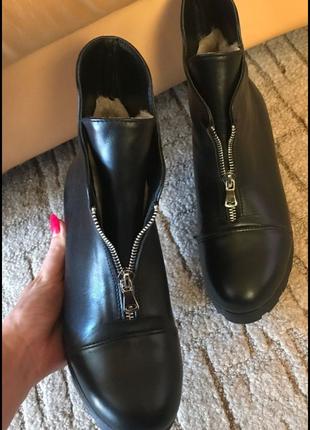 Ботинки кожа кожаные под Zara зима