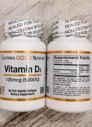 California Gold Nutrition Vitamin D3 125 mcg 5000 iu 90 Softgels