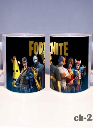 Чашка с принтом фортнайт. fortnite