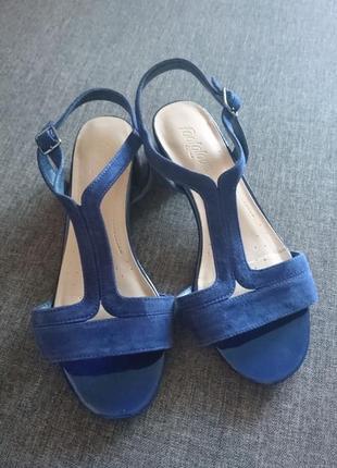 Синие кожаные босоножки 👡