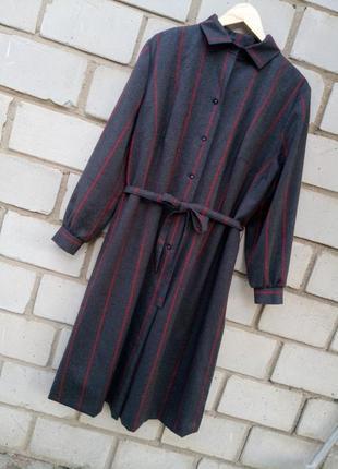 Шерстяное теплое платье миди с обемными  рукавами otto graf раз.