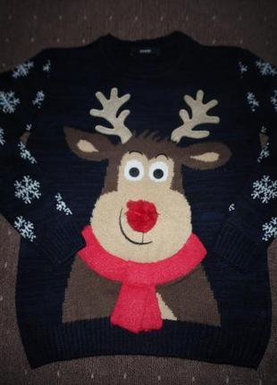 Новогодний свитер george 9-10 лет