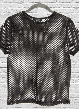 Черная футболка сетка, прозрачная футболка женская