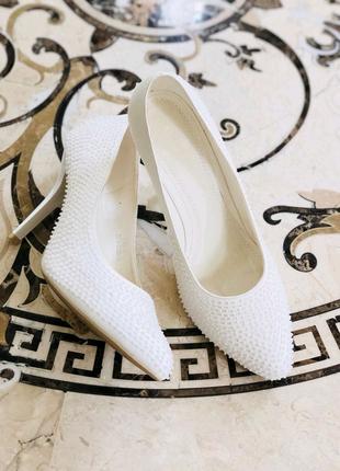 Кожаные итальянские белые туфли Louisa Peeress
