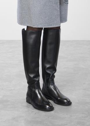 Натуральные кожаные, женские, черные сапоги Braska