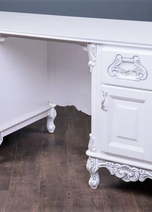 Белый деревянный стол Версаль для кабинета Барокко стиль