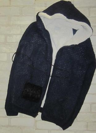 Крутая куртка -дубленка, крупная вязка, эко мех
