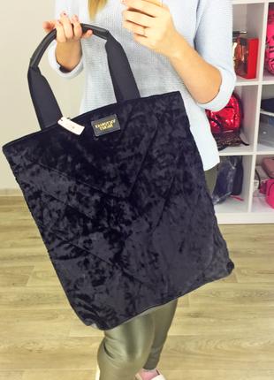 Вельветовая черная сумка velvet tote от виктории сикрет victor...