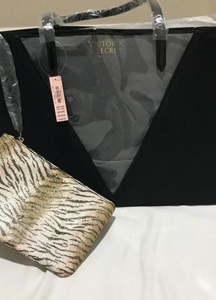 Распродажа! стильная черная сумка + клатч от виктории сикрет